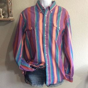 Vintage L Wrangler Striped Button Down Shirt